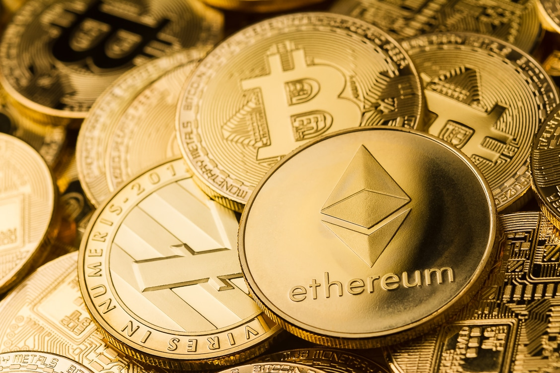 crypto currency coins of ethereum (ether, ETH), bitcoin (BTC), used in a blog post